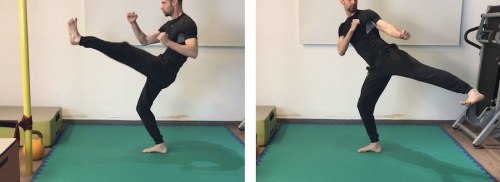 Frontal kick + Diagonal Back Low Kick