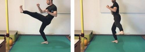 Frontal kick + Lateral Low kick